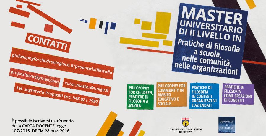 """MASTER UNIVERSITARIO DI II LIVELLO IN """"Pratiche di filosofia a scuola, nelle comunità, nelle organizzazioni"""" Anno Accademico 2019-2020"""